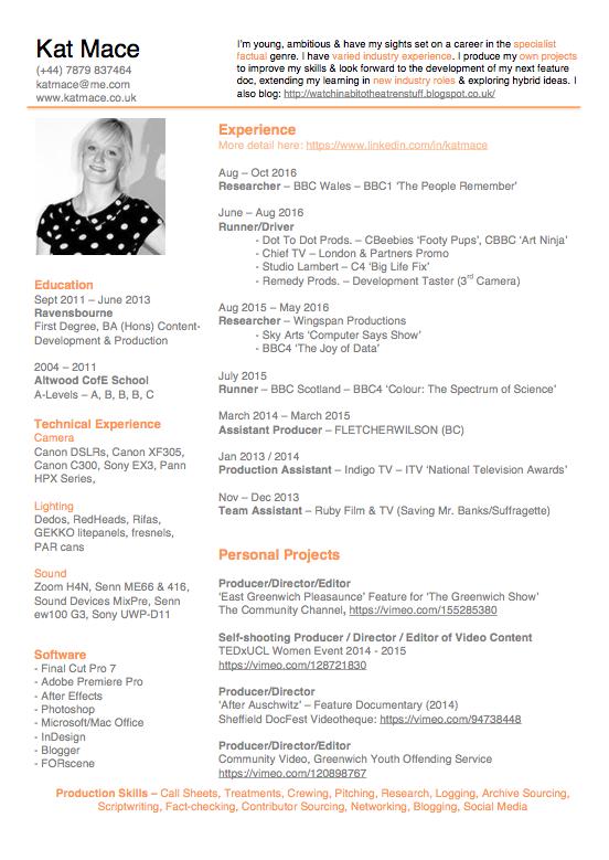 Kat Mace 1 page CV (July 2015)